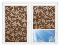 Рулонные кассетные шторы УНИ - Ажур-коричневый
