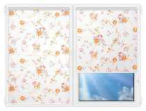 Рулонные шторы Мини - Болгарская-роза-оранжевый на пластиковые окна
