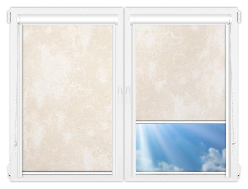 Рулонные кассетные шторы УНИ - Клаудиа-блэкаут-бейж на пластиковые окна
