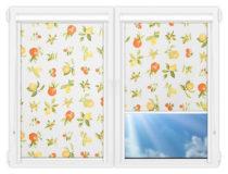 Рулонные кассетные шторы УНИ - Мультифрут на пластиковые окна