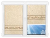 Рулонные кассетные шторы УНИ - Орнамент-блэкаут-бейж