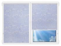Рулонные шторы Мини - Сакура-голубой на пластиковые окна