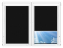 Рулонные кассетные шторы УНИ - Силк-скрин-алю-черный на пластиковые окна