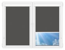 Рулонные кассетные шторы УНИ - Силк-скрин-алю-темно-серый на пластиковые окна