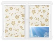 Рулонные кассетные шторы УНИ - Тафетта-кремовый на пластиковые окна