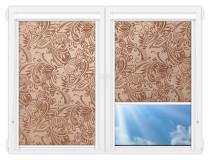 Рулонные кассетные шторы УНИ - Версаль-шоколад на пластиковые окна