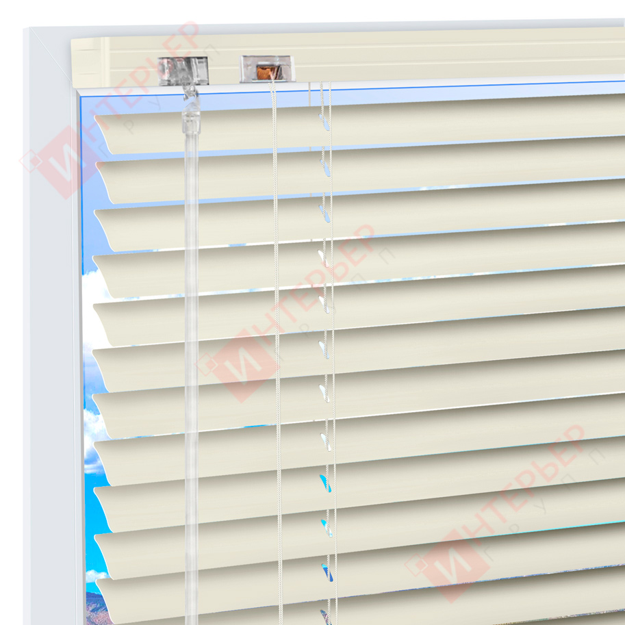 Горизонтальные алюминиевые жалюзи на пластиковые окна - цвет бледно-бирюзовый