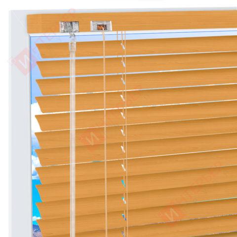 Горизонтальные алюминиевые жалюзи на пластиковые окна - цвет бежевый