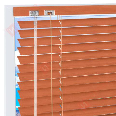 Горизонтальные алюминиевые жалюзи на пластиковые окна - цвет оранжево-коричневый