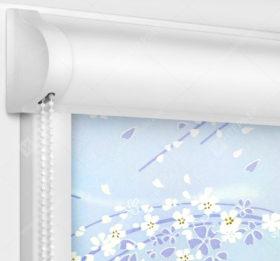 Рулонные кассетные шторы УНИ - Сакура голубой
