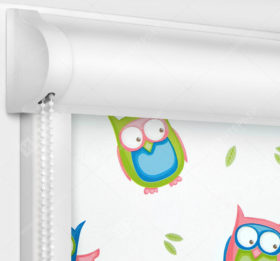 Рулонные кассетные шторы УНИ - Совушки блэкаут